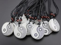 Wholesale Tai Chi Pendants - Wholesale lot 12pcs Men Women's Jewelry Taoist Tai Chi Yin & Yang Charm Pendant Necklace Amulet MN261