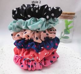 Wholesale Basic Fabric - 50pcs Hair Scrunchy Polka Dot Striped Chiffon Fabric Hair Rope Ponytail Holder Headband Accessories Basic Hair Band Loop Fj3335