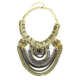 Wholesale Boho Exaggerated Necklace - Fashion Boho Style Exaggerated Multilevel Chain Statement multilayer Necklaces Women Evening Dress Jewelry Choker Collares mujer