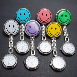 Wholesale Doctor Watch Smile - 50pcs lot Smile Face nurse watch Doctor Metal Stainless Nurse Medical Watches With Clip Pocket watch