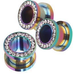 Wholesale Ear Gauges Cheap - JK Rainbow Crystal Earring Gauge Screw Ear Plug Cheap Ear Tunnel Body Jewelry Plugs on Ear Fit Expander Kits