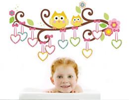 2019 refrigeradores medianos 2015, regalo de Navidad del árbol del búho del corazón de dibujos animados etiqueta de la pared PVC niños decoración de la habitación del arte impermeable extraíble 1007g
