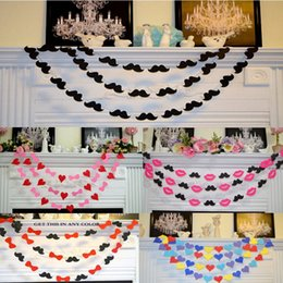 Wholesale Custom Made Cake Toppers - Mustache Sweetheart Wedding Garlands Custom Made Color Cheap In Stock Party Wedding Decorations High Quality 5 Pieces lot Wedding Suppliers