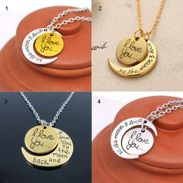 """Wholesale Titanium Lovers Pendants - Antique Silver 4 Styles""""I Love You To The Moon and Back"""" Pendant Necklace Gift for Lover Mom Thanksgiving Chirstmas Gifts"""