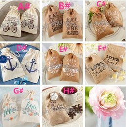 Wholesale Burlap Baby - FREE SHIPPING!100pcs lot!Mix Design mini burlap drawstring wedding baby shower muslin candy favor gift bag,linen candy bag