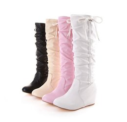 Wholesale Winter Hidden Wedges Shoes - Womens Lovely Bow Tie Hidden Wedge Slouchy Knee High Boots Shoes Plus Size 328