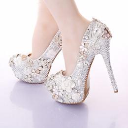 Wholesale Jeweled High Heeled Shoes - 2016 Gorgeous Wedding Shoes Round Toe Rhinestone Bridal Dress Shoes Handmade Jeweled Crystal Party Prom Amazing Pumps Thin Heels