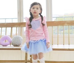 Wholesale Girl Love Cardigan - Cute Baby Girls Clothing Girl Cardigans Long Sleeved Love Rib Flouncing Jackets Solid Color High Quality Sweet Outwear Kids Clothes 9066