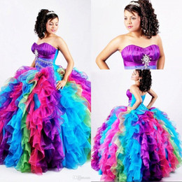 Wholesale Rainbow Dress Red - Ball Gown Rainbow Quinceanera Dresses Puffy Organza Bling Crystal Sequins Sweet 16 Gown Pageant Dress Princess Corset Prom Dresses