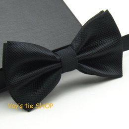 Wholesale Tuxedo Plaid Bow Tie - Wholesale- Mens Pajaritas 2017 Fashion Bowtie Dull Jacquard Plaid Grid Bow Ties Leisure Solid Wedding Tuxedo Butterfly Black 12*6CM