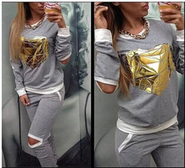 Wholesale Women Clothes Set - New Women Clothing Fashion Nice Casual Tracksuits Set Tops + Pant Set Women Clothing Set 2Pcs Set Long sleeved leisure B11492