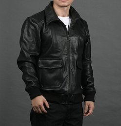 Wholesale Leather Pilot Jacket For Men - Fall-Factory Flight Aviator Pilot Jackets For Men Genuine Cowhide Leather Coat Bomber Motorcycle Biker Suit Winter Male Jaqueta ZH055