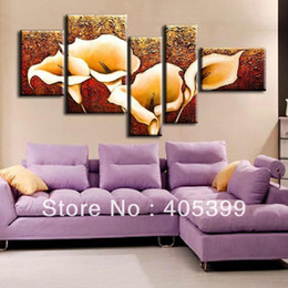 Wholesale Calla Lilies Wall Art - The Calla Lily !!! 5 panels Huge Modern Flower Oil Painting Wall Art on Canvas ,Canvas Wall Art Z001