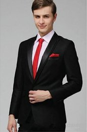 Wholesale Notch Collar Slim Fit Suits - 3 pieces Double collar Black Groom Tuxedos Best Tuxedos Notched Lapel Two Button Slim Fit Groomsmen Men Wedding Suit(Jacket+Pants+Tie) 01