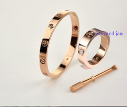 Wholesale cheap rose gold rings - Lover Gift Fashion 316l Stainless Steel 18K Rose Gold Women Men Bangle With Screwdriver Ring Set Cheap Price Free Shipping
