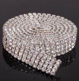 Wholesale Cake Silver - MIC Hot sell 4 Rows 1 Yard Diamante Rhinestone Cake Banding Trim Cake Decoration Wedding Supplies