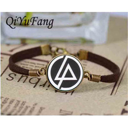 Wholesale Friends Logos - Wholesale- Handmade Fashion Linkin Park logo bracelet Jewelry leather Glass Dome bracelets 1pcs lot best friends gift steampunk 2017 charms