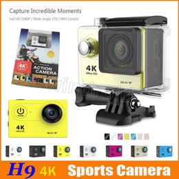 """Wholesale Wide Angle Packaging - Cheapest H9 Ultra HD 4K Video 170 degrees Wide Angle Sports Action Camera 2"""" LCD 1080p Waterproof 30m Wifi HDMI 50 retail package colors DHL"""