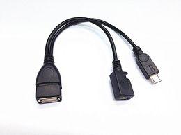Wholesale Cables Usb Y Otg - wholesale Micro USB Male To USB Female Host OTG Cable + Micro USB Adapter Y Splitter