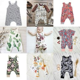 Wholesale Girls Print Jumpsuit - INS Baby Boys Girls Summer Clothing Sets Kids Printed Floral Sleeveless Animal Short Sleeve Heart Flowers Jumpsuits