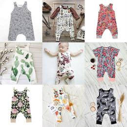 Wholesale Metallic Boy Shorts Wholesale - INS Baby Boys Girls Summer Clothing Sets Kids Printed Floral Sleeveless Animal Short Sleeve Heart Flowers Jumpsuits