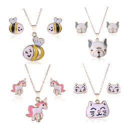 Wholesale gold jewelry for children - Lovely Women Children Jewelry Set High Quality Gold Plated Oil Plated Kitty Bee Dog Unicron Earrings Necklace Set for Kids Children Women