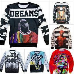 Wholesale Biggie Smalls Sweatshirt - Alisister fashion men women's 3D sweatshirts America hiphop rock star Biggie Smalls character Tupac 2pac print pullover hoodies