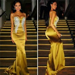 Wholesale Charming Pleats Mermaid Trumpet Sweetheart - Elegant Spaghetti Strap Sweet Neck Evening Gown Charming Beads Crystal Front Formal Evening Dresses 2017 Mermaid Celebrity Prom Dresses Long