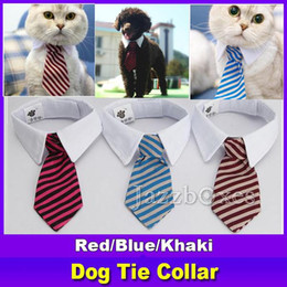 Argentina Nuevo collar de corbata a rayas perro mascota Cat Bow lindo perro corbata boda ajustable perrito rojo / azul / de color caqui envío gratis cheap red bow tie cat collar Suministro