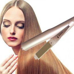 Wholesale Ceramic Aluminum - Iron Hair Straightener Iron Brush Ceramic 2 In 1 Hair Straightening Curling Irons Hair Curler EU US Plug with LOGO 0604091