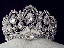Wholesale Vintage Pageant Tiaras - 2015 Vintage Peacock Crystal Tiara Bridal Hair Accessories For Wedding Quinceanera Tiaras And Crowns Pageant Rhinestone Crown