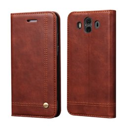 Wholesale Purse Closures - Luxury Wallet Case Leather For Huawei Mate 10 Pro Cover Flip Pouch Card Slot Magnet Closure Purse Vintage Style With Kickstand