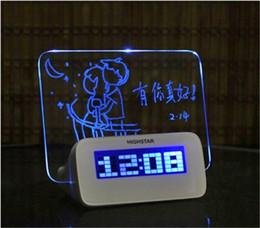 Wholesale Alarms For Sale - Hot sale LED Luminous Luminova Message Board Digital kids Alarm Clock With Calendar LED Clock Chrismas gift for child