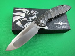 Wholesale Water Blade - Wild Boar CTS-18HP XM-18 XM18 Flip Fold Blade D2 60HRC Satin Blade Stone Wash Water Titanium Handle Camping Tactical Knife Free Shipping