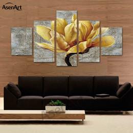 Orquídeas pinturas lienzo online-5 Panel Lienzo Arte Orquídea de Oro Flor Impresión de la Lona Pinturas Decoración Del Hogar Enmarcado Listo para Colgar Dropshipping