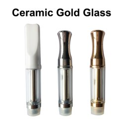 Wholesale Glass Drip Tank - Best Quality Glass Cartridges Ceramic Flat Gold Drip Tip Ceramic Coil 510 Thread 0.5ml 1.0ml Pyrex Glass Tank Thick Oil Vaporizer
