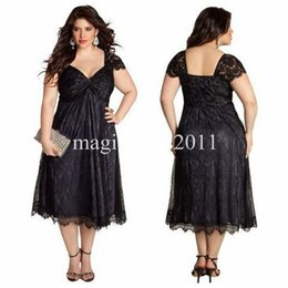 Wholesale Sweetheart Empire Evening Dress - 2015 Little Black Plus Size Lace Mother of the Bride Groom Dresses with Cap Sleeve Sweetheart Ruched Empire Tea Length Formal Evening Gowns