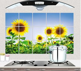 Wholesale Sunflower Stickers Free Shipping - beautiful Ceramic tile stickers home decor kitchen wall stickers sunflower stickers Free shipping factory direct wholesasle supplier
