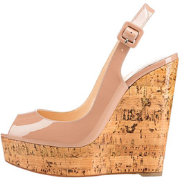 Wholesale Designer Wedge Heel Shoes - 2018 fashion sandals women patent leather ankle strap shoes wedges platform high heels sandals woman sandalias party designer shoes women