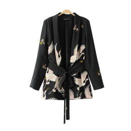 Venta al por mayor- PEONFLY2017Fashion Mujeres Red Crane corona de impresión Kimono estilo chaqueta Casual manga larga abrigo Vintage cinturón anudado Tops sueltos desde fabricantes