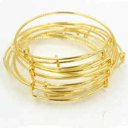 Wholesale Gold Bracelets For Kids - gold silver wire band adjust Metal DIY bangle cuff jewelry for women kids wire charm bracelets gift 160134