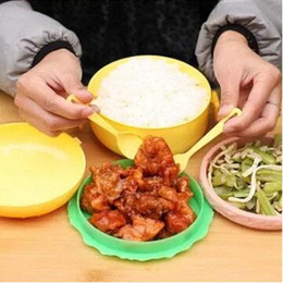Wholesale Double Fork - Double Tier Children Hamburger Bento Lunch Bowl Food Container Storage with Fork Lunch bowl Bento Container CCA8251 48pcs