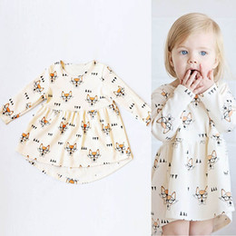 Wholesale Long Sleeve Dress Wholesale - Ins Girls Fox Glasses Dresses Bow Tie Printed Long Sleeve Knee-Length A-Line Cotton Infant Toddler Baby Casual Fashion Princess Cloth 6M-4T