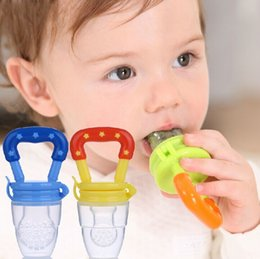 Wholesale Pacifier Baby Free Shipping - Free shipping Baby Teether Fruit Pacifier Food Supplement Silicone Teether Fresh Food Teething Toy Feeder Stick Pacifier