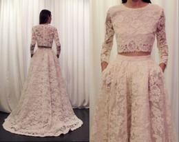 2 piezas de encaje vestidos de novia sexy manga larga corte tren marfil Robe De Mariage una línea de longitud del piso vestidos de novia desde fabricantes