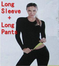 Wholesale Long Sleeve Body Shirt - (Long Sleeve T-shirt + Long Pants) Hot Body Shapers T-shirt Control Tops + Stretch Neoprene Slimming Vest Body Shaper Pants
