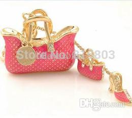 Wholesale High Heel Hanger - Wholesale-[1pc free shipping] Bling Bling Alloy Keychains Fashion High Heels Shoe Keyring Handbag Decoration Jewelery Charm Bag Hanger