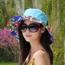 Wholesale Sexy Sun Hats - Wholesale-Women Summer Cotton Hat 2015 Korean Beach Bow Floral Sun Hats Fashion Sexy Sunbonnet Casual Hat Portable Cap For Woman