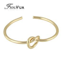 Wholesale Locked Cuffs - Wholesale- Knot Jewelry Gold-Color Silver Color Black Sample Lock Open Cuff Bracelets & Bangles Minimalist Jewelry Fashion New Bijoux