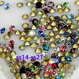 Wholesale Crystal Ss14 - High Quality Crystal Beads ss14-ss21 1440pcs Pointback Rhinestones Glass Material Strass for Jewelry Fashion Mixed Color Pointback Strass